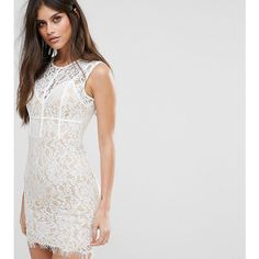 NaaNaa Mini Dress with Eyelash Lace Hem and Piping ($21) ❤ liked on Polyvore featuring dresses, white, lace cocktail dress, midi cocktail dress, white dress, short party dresses and short lace dress