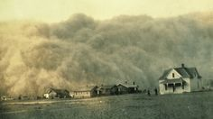 A monster dust storm approaches Stratford, Texas, on April 18, 1935, during the great Dust Bowl tragedy of the 1930s.