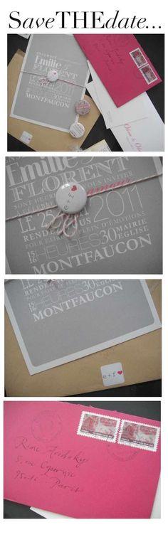 Save the Date con juego de tipografias para boda moderna
