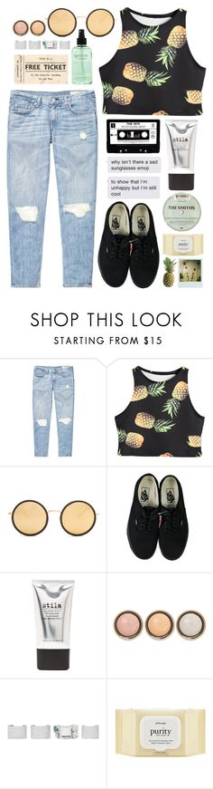 """I'm unhappy but I'm still cool"" by cj-churchill ❤ liked on Polyvore featuring rag & bone, Linda Farrow, Vans, Stila, philosophy, By Terry, Maison Margiela and Polaroid"