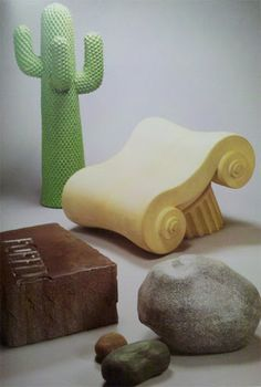 From L'Utopie Du Tout Plastique 1960 – 1973, p.103:  Gufram items.  From top to bottom, the Cactus clothes rack, Capitello armchair, Massolo table, and Sassi seats.  These were re-editioned by Gufram in 1986:  Cactus (2,000), Capitello (500), Massolo (500), Sassi (2,000).