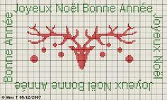 noël - christmas - renne - joyeux noël - bonne année - point de croix - cross stitch - Blog : http://broderiemimie44.canalblog.com/