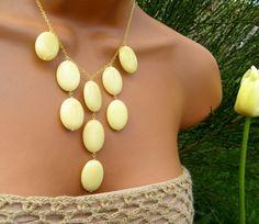 Yellow Jade Bib Necklace. Spring Statement. Dafodills and Tulips.