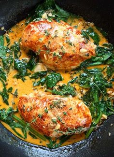 INGREDIENTS 2 large chicken breasts 1 tsp paprika salt & pepper 5 Tbsp butter* ¼ cup fresh thyme leaves 3 large garlic cloves, minced 1 cup dry white wine 2 handfuls spinach (chopped if they're...