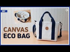 DIY/ CANVAS ECO BAG/ TOTE BAG/ 캔버스 원단으로 미니 에코백 만들기/ 겉감과 안감 부착방법/ 토트백/ sewing/ tutorial [Tendersmile] - YouTube Diy Pouch Bag, Diy Purse, Tote Bag, Diy Sac, Handmade Purses, Fabric Bags, Diy Canvas, Bag Making, Diaper Bag