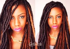 Faux Locs <3 - (marley braid hair wrapped around a senegalese/two strand twist) such a good idea!