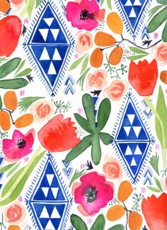 Pattern by Lindsay Gardner Art & Illustration Another patter I really love. The color scheme has an island feel to it and the floral/tribal mix is an unusual but elegant combination. Surface Pattern Design, Pattern Art, Textile Patterns, Textiles, Floral Prints, Art Prints, Pretty Patterns, Pattern Wallpaper, Printing On Fabric