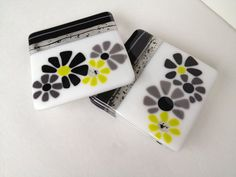 Fused Glass Coasters  Contemporary Blooms by SmudgePotz on Etsy, $34.00