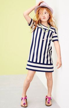 APR Style Guide: J.Crew girls' switched-up stripe shift dress, straw eyelet hat, dinosaur necklace and Birkenstock Gizeh sandals in mirror pink. Tween Fashion, Little Girl Fashion, Toddler Fashion, Little Girl Dresses, Girls Dresses, Dress Girl, Tween Mode, Kid Styles, Kind Mode