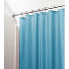 "InterDesign Mildew-Free Water-Repellent Fabric Shower Curtain, 72"" x 72"", Azure"