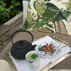 Morning tea #family #home @royalcopenhagen #japanstyle #garden