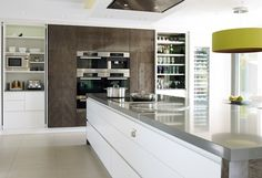 The kitchen by Mark Howorth shows the worktop joint cleverly disguised by an LED light strip