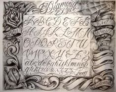 Tattoo Lettering Styles, Graffiti Lettering Fonts, Chicano Lettering, Creative Lettering, Script Lettering, Boog Tattoo, Tattoo Fonts Alphabet, Hand Lettering Alphabet, Cursive Tattoos