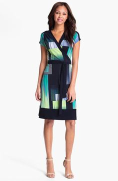 Alex & Ava Print Wrap Jersey Dress available at #Nordstrom