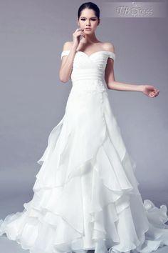Charming Off the Shoulder A-Line Ruffles Chapel Train Wedding Dress