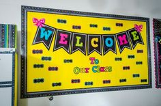 Chalkboard bulletin board welcome to our class chalkboard brights bulletin board welcome bulletin boards classroom classroom Kindergarten Bulletin Boards, Classroom Bulletin Boards, Classroom Themes, School Classroom, In Kindergarten, Chalkboard Classroom, Welcome Bulletin Boards, Summer Bulletin Boards, September Bulletin Boards