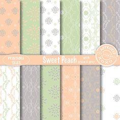 Flowers and Damask Peach digital papers 'Sweet door PrintableTales