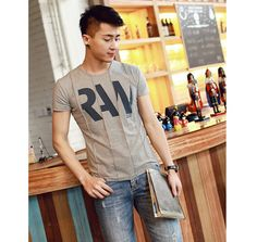 Men's New Style Stylish Round Neck Letter Printed Short Sleeve T-Shirt