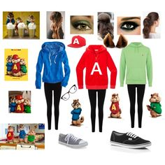 My Best Friend's Boyfriend by Camilla Isley - Group Halloween Costume for Alice, Madison, and Haley.  Alvin and the Chipmunks Halloween Costume by demented-dino on Polyvore featuring American Eagle Outfitters, Juicy Couture, Oasis, Vans, Aéropostale, Marc by Marc Jacobs, Polo Ralph Lauren, The Hundreds, Cara and Halloween