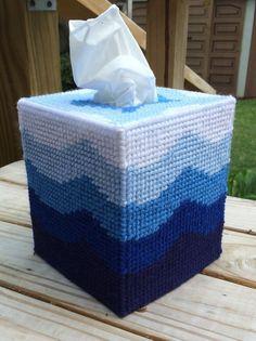 Details about Blue Waves Tissue Cover handmade Boutique size plastic canvas Plastic Canvas Box Patterns, Plastic Canvas Coasters, Plastic Canvas Tissue Boxes, Plastic Canvas Crafts, Tissue Box Holder, Tissue Box Covers, Kleenex Box, Canvas Designs, Canvas Ideas