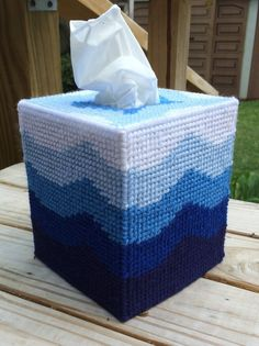 Blue Waves Tissue Cover Handmade Boutique Size Plastic Canvas | eBay