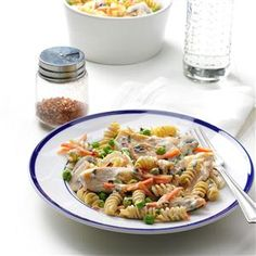 Lemon-Basil Chicken Rotini Recipe- Recipes My husband and sons like to have meat with their meals, but I prefer more veggies. This combo is colorful and healthy, and it keeps everyone happy. —Anna-Marie Williams, League City, TX