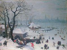 Lucas van Valckenborch - Winter Landscape with Snowfall near Antwerp. 1575