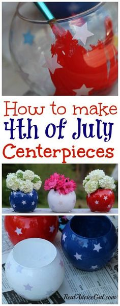 These Fourth of July Decorations centerpieces are so easy to make and they are so pretty! All you need are some glass containers, star stickers, and paint!
