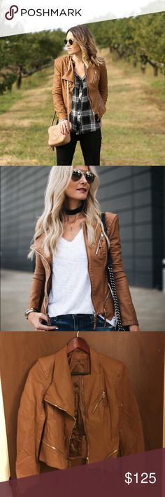 BlankNYC Cognac Leather Jacket BlankNYC Faux Leather Cognac Moto Biker Tailored Jacket. Size Small. Runs Small. New. Please send reasonable offers through the offer button! Blank NYC Jackets & Coats