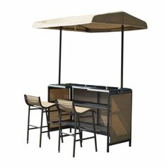 Beige patio bar table and stool set with canopy
