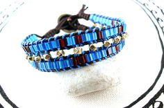 Würfelarmband in Blau-Gold von Catch In Sky - Schmuckdesign  auf DaWanda.com