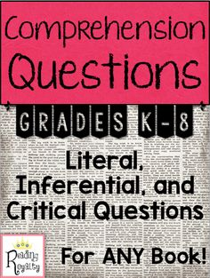 This product can be used with any book! It includes literal, inferential, and critical/evaluative question lists and question sets for kindergarten through eighth grade. $16.00 - Michaela Almeida, Reading Royalty