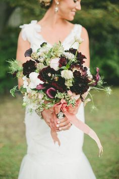 Rich romantic color palette that highlights figs and golds | See more wedding #inspiration on Style Me Pretty: http://www.StyleMePretty.com/2014/01/30/figs-gold-wedding-inspiration/ OneLove Photography