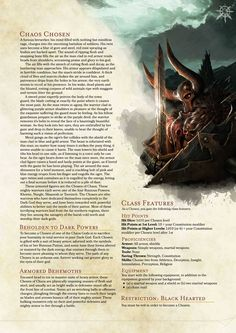 Post with 234 votes and 5117 views. Tagged with warhammer, dnd, homebrew, not mine, warhammer fantasy; Shared by TheChairlordOfNurgle. Warhammer Chaos Chosen D&D Class Homebrew Dungeons And Dragons Classes, Dungeons And Dragons Homebrew, Warhammer 40k, Science Fiction, D D Races, Dnd Classes, Dnd 5e Homebrew, Dragon Rpg, Dnd Monsters
