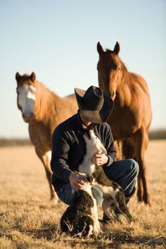 Oh, hey. A cowboy with his dogs and horses, I mean what else do you need in life?!