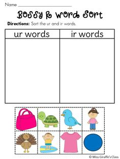 Sorting Bossy R words - 3 sorts in both color and BW Letter Sound Activities, Phonics Activities, Kindergarten Activities, 1st Grade Writing, First Grade Reading, Reading Centers, Reading Groups, R Words, Kindergarten Lesson Plans