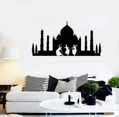 Wall Stickers Vinyl Decal Taj Mahal India Mosque Monument Dance Girls (ig1025)