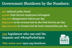 Our national parks, NPS staff, visitors, and local communities are suffering daily with the Government Shutdown. Learn more: www.npca.org/shutdown #keepparksopen