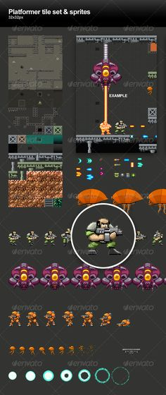 Platformer tile set & sprites #GraphicRiver This is a basic 32×32px tile set for a platformer shooting game + animated sprites and objects. PSDs and PNGs included. The tiles and sprites are on separate layers but the individual objects (Tiles & sprites) have have no layers… Pure pixel work. Animated example GIFs are also included. Created: 30July13 GraphicsFilesIncluded: PhotoshopPSD #TransparentPNG HighResolution: No Layered: Yes MinimumAdobeCSVersion: CS2 PixelDimensions: 192x608 Tags…