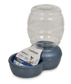 Petmate Replenish Pet Waterer with Microban, 1-Gallon, Pearl Peacock Blue