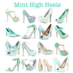 Mint Green High Heels (bridal shoes, heels, sandals, pumps, peep toes, tiffany, blue, pastel, green, high heels) More mint-spirations on my blog!