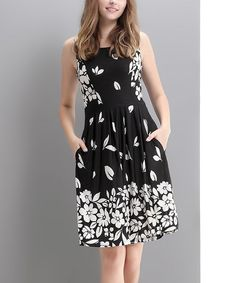 Reborn Collection Black Falling Petal Fit & Flare Dress | zulily