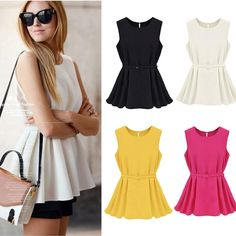 Fashion Women Chiffon T Shirt Blouse Candy Color Sleeveless Crew Neck Tank Tops #Unbranded #Blouse #Casual