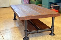 Industrial Barnwood Coffee Table with Steel by OcRusticWoodWorks, $799.00