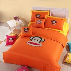 Paul Frank Bedding - Cool Stuff to Buy and Collect Queen Comforter Sets, Bedding Sets, Duvet Cover Sizes, Duvet Covers, Orange Bed Sheets, Orange Comforter, Best Thread Count, Paul Frank, House Beds