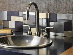 Liven up your countertops with a beautiful kitchen backsplash! If you want help designing the perfect kitchen backsplash for your MD, VA or DC home, contact Jack Rosen Custom Kitchens today! Küchen Design, Tile Design, Design Ideas, Interior Design, Modern Interior, Metal Tile Backsplash, Backsplash Ideas, Backsplash Design, Glass Tiles