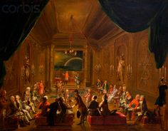 "Mozart at a Masonic  Initiation  at  ""New Crowned Hope"" by Ignaz Unterberger (1789).  This contested painting shows Mozart,  presumed to be on extreme right, next to Schikaneder. Nikolas Esterhazy, Prince of Hungary and Haydn's patron is Master of both Lodge and Ceremonies, is said to be in the center,speaking to the Initiate."