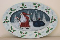 Christmas Folk Art Hand Painted Winter Scene by RavensBendFolkArt