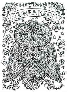 Poster to Color Large Size 11x14 Owl Dreamer by ChubbyMermaid on Etsy