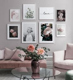 Gallery wall with a quote and pink flowers in pink nuances - You can find inspiration wall and more on our website.Gallery wall with a quote and pink flowers. Decor Room, Living Room Decor, Bedroom Decor, Home Decor, Picture Wall Living Room, Pictures On Wall Living Room, Living Room Prints, Picture Walls, Bedroom Pictures
